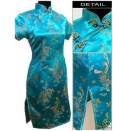 Prachtig turquoise chinees damesjurkje draken en phoenix motief