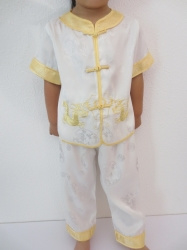 Prachtig wit met gouden draken pakje alleen nog maat 104 en 140