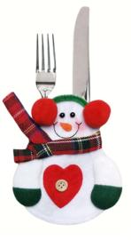Bestekhouder Sneeuwpop met rode oorwarmers