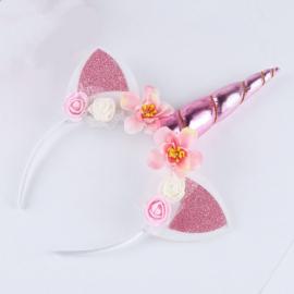 Haarband UNICORN met bloemen roze