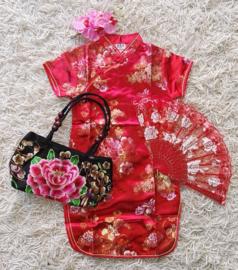 Beeldschoon brokaat Chinees jurkje met gewoven bloemen rood