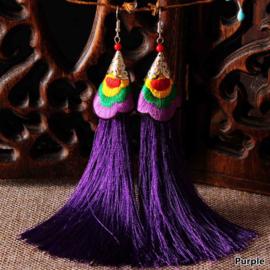 Geweldige franje oorbellen 12 cm paars