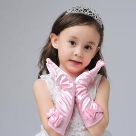 Gala handschoentjes met strik voor meisje 4-8 jaar roze