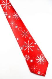 Kerststropdas Sneeuwkristallen rood