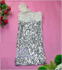 Superleuk stretch one/shoulder glitterjurkje met roezelmouwtje zilver mt 146/152/158