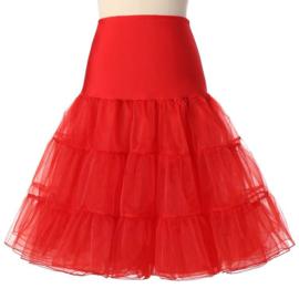 Rode petticoat met brede elastische tailleband damesmaat S/M/L