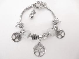Prachtige Pandora style armband met Tree of Life bedels en zilverwitte kralen
