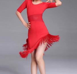 Supermooi Latin dansjurkje met franje rood