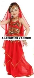 Prachtige 3-delige Oosterse kinderbuikdans set met lange rok rood 128-146