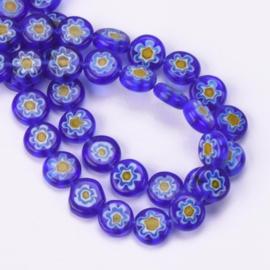 Glaskraal Millefiori blauw/geel 8 mm