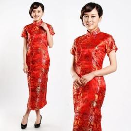 """Schitterende lange Chinese """"10 button"""" jurk rood"""