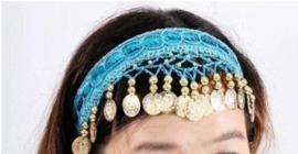 Haarband blauw met gouden muntjes