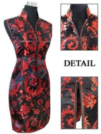 Elegant brokaat mouwloos Chinees jurkje zwart met rood