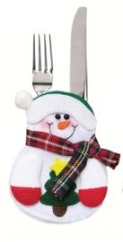 Bestekhouder Sneeuwpop met groene muts