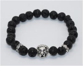 Kralen armband Lavasteen met zilveren leeuw