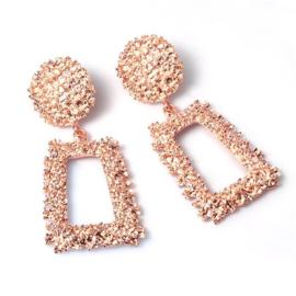 Rosegouden chunky vierkante statement oorbellen 7 cm