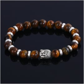 Kralen armband Tijgeroog met Boeddha
