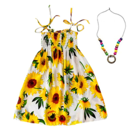 Superleuk zomerjurkje wit met zonnebloemen + ketting