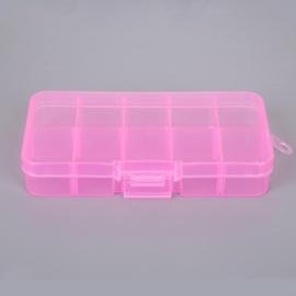 Klein opbergdoosje roze 10 vakjes 13 x 6 x 2 cm
