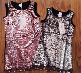 Ge-wèl-dig omkeerbare pailletten jurkje zachtroze/zilver