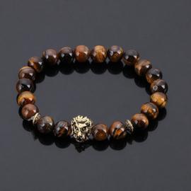 Kralen armband Tijgeroog met gouden leeuw