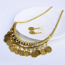 Prachtige BOHO muntenketting met bijpassende oorbellen set goud