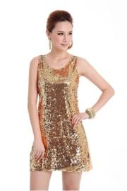 Leuk bling bling glitterjurkje goud