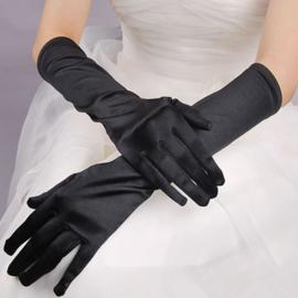 Lange gala handschoenen meiden/damesmaat zwart