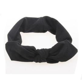 Superleuke haarband met strik effen zwart kindermaat