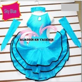 Mooi LATIN jurkje met accessoires turquoise