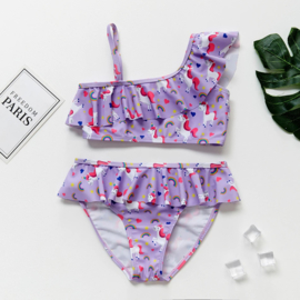 """Vrolijke bikini """"Unicorn"""" paars met één schouderbandje en roesels"""