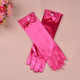 Gala handschoentjes met strik voor meisje 4-8 jaar fuchsia
