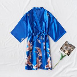 Mooie dameskimono met kraanvogels kobaltblauw
