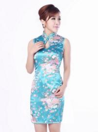 Mouwloos Chinees bloemenjurkje turquoise