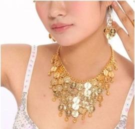 Sieradenset ketting + oorbellen met gouden muntjes