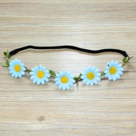 Leuke elastieken haarband met lichtblauwe bloemen