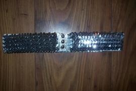 Glitterriem elastiek zilver