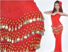 Leuke rode chiffon heupsjaal gouden muntjes