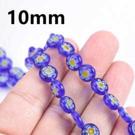 Glaskraal Millefiori blauw/geel 10 mm