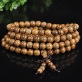 Mala unisex gebedsketting/armband sandalwood naturel