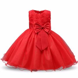Schitterende luxe feestjurk met rozen en sparkle rok rood maat 140/146
