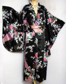 Beeldschone Geisha kimono dress met obi zwart met pauwenprint