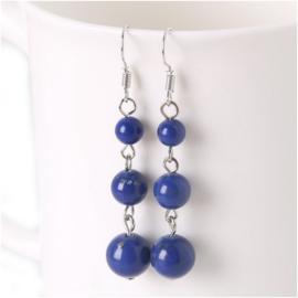 Oorbellen 3 geslepen Lapis Lazuli kralen