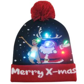 Superleuke Kerstmuts met lichtjes Merry X-mas