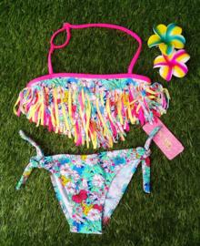 Geweldige kleurrijke bohemian bikini turquoise met bloemen en franje