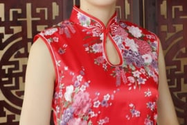 Mouwloos Chinees bloemenjurkje rood
