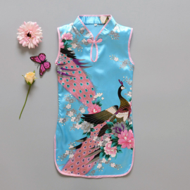 Pauwenjurkje Chinese druppelsluiting turquoise