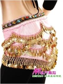 Mooie luxe roze fluwelen heupsjaal gekleurde steentjes en gouden muntjes