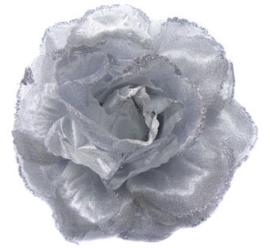 Prachtige zilveren roos met glitters op haarclip/elastiek/broche