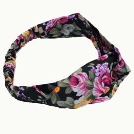 Superleuke knoop haarband met elastiek zwart met bloemen